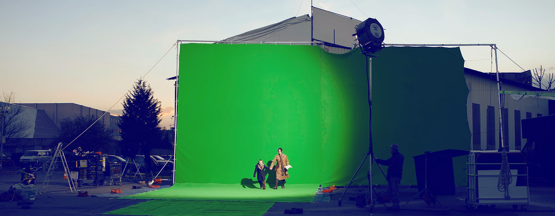 filming location in front of a green screen